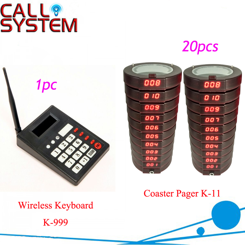Wireless Fast food Service Equipment Restaurant Guest paging system coaster pagers 1 keyboard with 20 receivers coffee shop service restaurant waiter buzzer table call button guest paging system 20 bell with 2 receivers