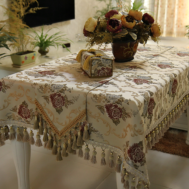 vintage florals european style imitated silk fabric lace tablecloth set custom made table cloth