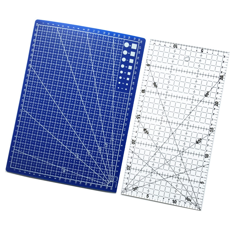 2 Pcs Acrylic And Plastic Materials 15 * 30cm Patchwork Ruler And A Blue A4 Cutting Plate Standard Freight Shipping