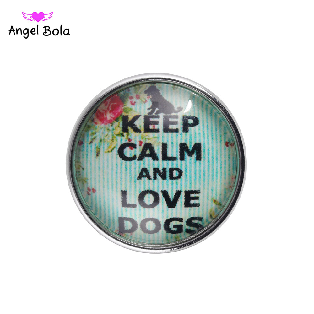 12PCS/LOT DIY Snaps 18mm Glass Snaps Buttons Love Dog Print Charm Glass Snaps Fit Ginger Snaps Buttons Jewelry Bracelet NS002-93