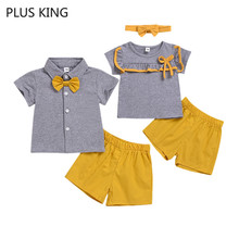Summer New 2pcs/Set for Brother Sister Matching Outfits Photography Short Sleeve + Shorts Toddler Clothes Baby Boys Girls sodawn 2017 brother sister clothes summer new children clothse boysgirls lattice short sleeve shorts suit boy girls clothing set