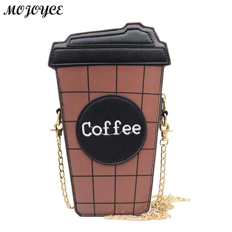 Women Coffee Cup Shape PU Leather Shoulder Bag Clutch Chain Handbag Crossbody Bag Messenger Bags for Girl Teenager 23 X 12 X 6cm cute pencil shape and pu leather design crossbody bag for women