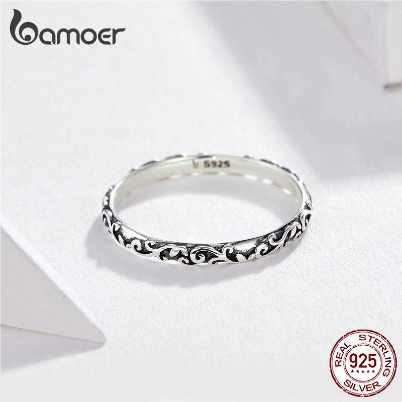 BAMOER Engraved Pattern Ring Real 925 Sterling Silver Black Tibetan Silver Small Finger Rings Unisex Fine