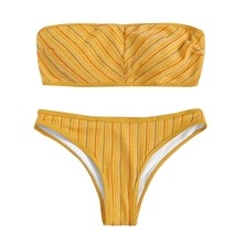 купить Sexy Bikini 2019 Striped Push Up Bikini Set Yellow Swimwear Women Micro Swimsuit Female Bandage Biquini Beach Party Two-Piece по цене 450.71 рублей