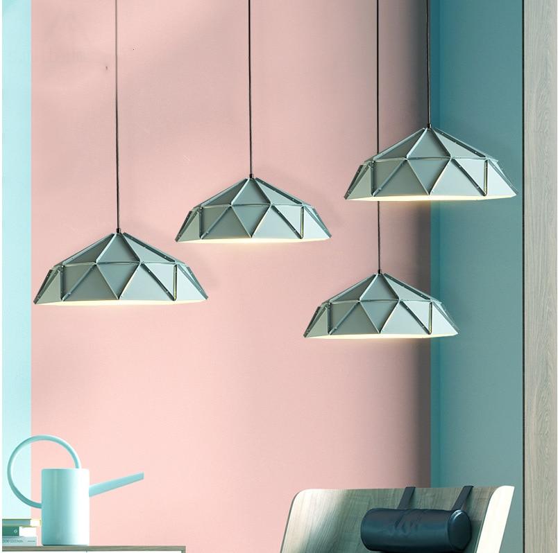 Modern Nodic Metal Green Lampshade Cord Pendant Droplight with E27 Socket Hanging Light Pendant Light for Living Room Cafe Bar