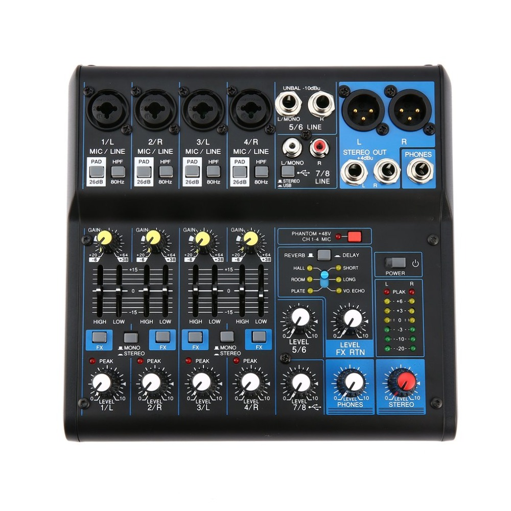 8 kanal DJ Mixer Audio Professional Power Mischen Verstärker digital mixer USB Slot 16DSP + 48V Phantom Power UNS stecker