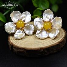XlentAg Natural Fresh Water Baroque Pearl Amazonite Flower 925 Sterling Silver Stud Earrings For Women Handmade Jewelry GE0597
