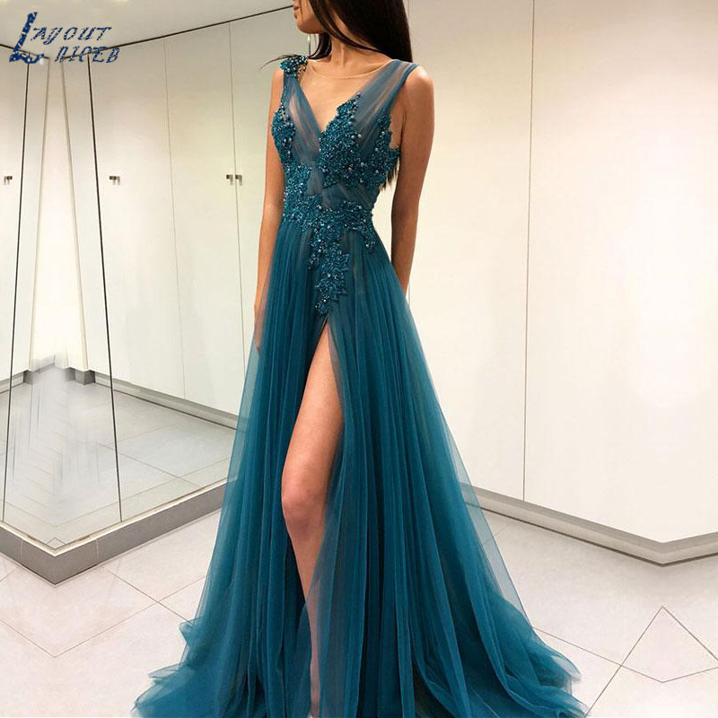 AE1230 New Ink Blue Elegant V Neck Lace Appliques Tulle Evening Dresses Party Prom Dresses Formal Gown With Slit Robe De Soiree