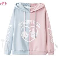 Pink White Black Kawaii Rabbit Hoodies Women Japanese Cute Cat Graphic Girl Lovely Pullovers Harajuku Bandage Sleeve Sweatshirt