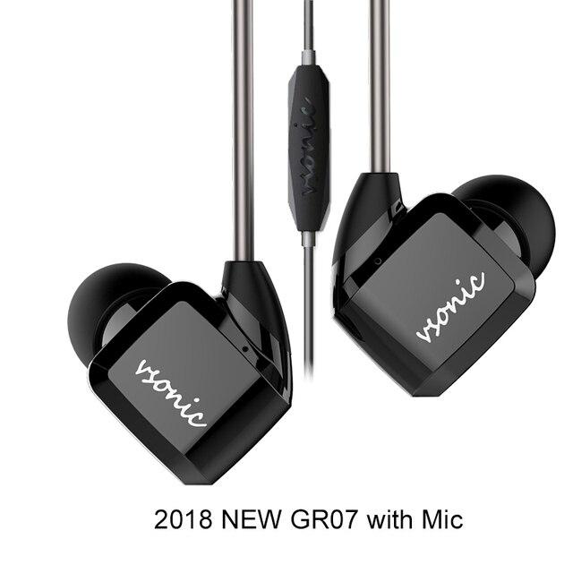 VSONIC HIFI หูฟังชนิดใส่ในหูหูฟังใหม่ GR07 GR07 I พร้อมไมโครโฟนแบบมีสาย IEM 2018