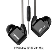 VSONIC HiFi kulak kulaklık kulaklık yeni GR07 GR07 i mikrofon kablolu IEM 2018