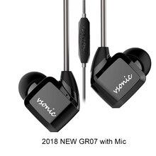 Vonic HiFi في الأذن سماعة أذن جديد GR07 GR07 i مع ميكروفون السلكية IEM 2018