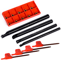 4pcs SCLCR06 Turning Tool Holder Boring Bar 7 8 10 12mm With 10pcs CCMT060204 Inserts And