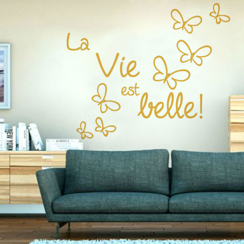 Home Decor Vinyl Wall Art Cricut ~ Life is beautiful butterflies french wall stickers diy