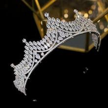 2019 new wedding headdress simple bride zircon crown silver ladies hair accessories dress