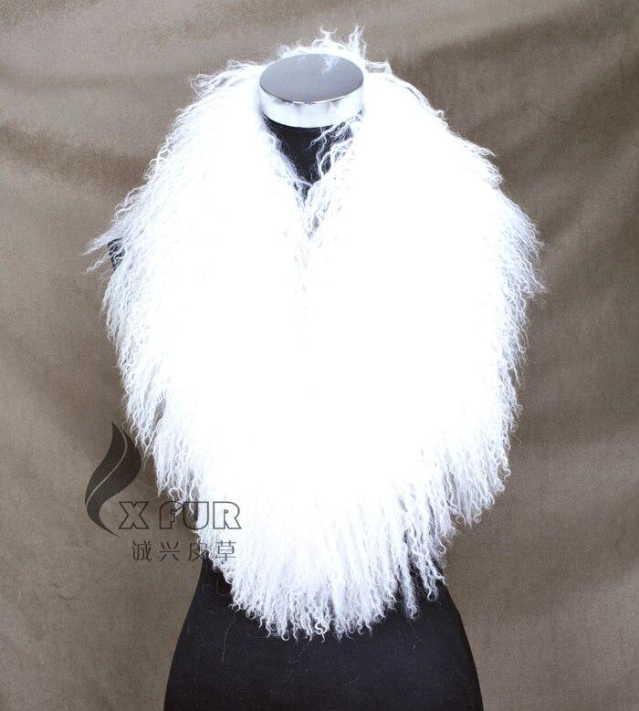 CX-A-52P из натуральной монгольской Овцы меховой воротник из натурального меха ягненка шарф шарфы накидка дизайн для леди - Цвет: WHITE
