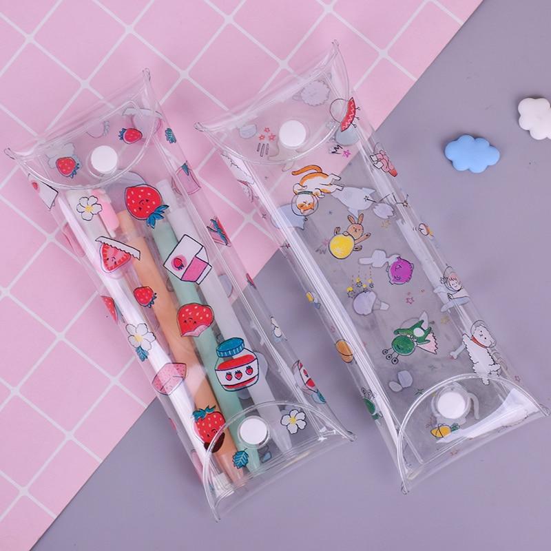 Cute Animal Strawberry PVC Transparent Pencil Case Storage Bag Korean Stationery School Pencil Cases For Girl