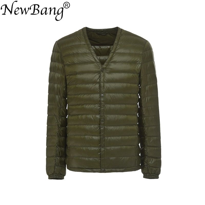 NewBang Brand Men's Down Jacket Ultra Light Down Jacket Men Slim Windproof Portable V Neck Lightweight Coat Warm Liner