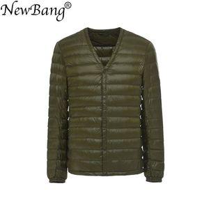 Image 1 - NewBang Brand Mens Down Jacket Ultra Light Down Jacket Men Slim Windproof Portable V Neck Lightweight Coat Warm Liner