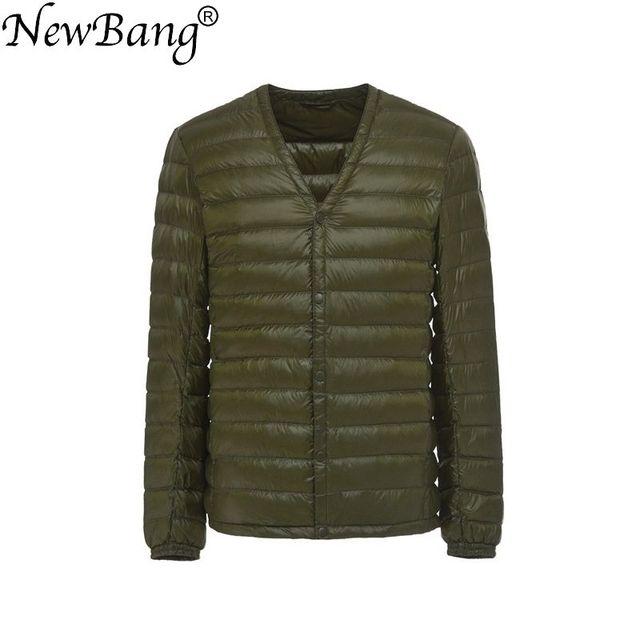 NewBang Brand Mens Down Jacket Ultra Light Down Jacket Men Slim Windproof Portable V Neck Lightweight Coat Warm Liner
