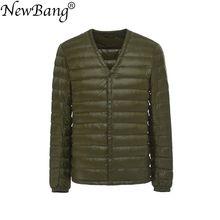 NewBang ยี่ห้อผู้ชายลงเสื้อ ULTRA LIGHT ลงเสื้อแจ็คเก็ตผู้ชาย Slim Windproof V คอน้ำหนักเบา WARM Liner