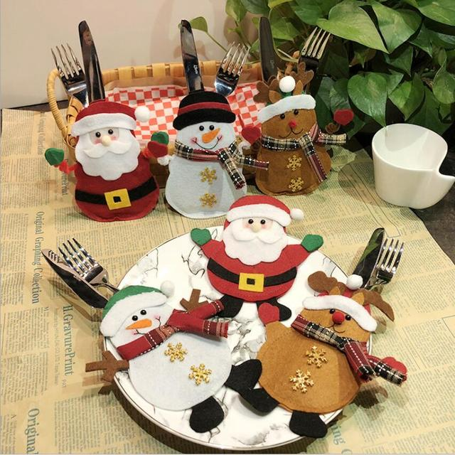 2019 new christmas silverware holders 6 type christmas decoration for dinner tables creative knives and forks - Christmas Silverware Holders