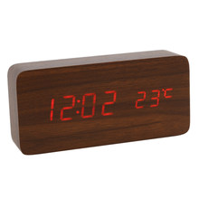 Voice Control Calendar Thermometer Rectangle Wood Wooden LED Digital Alarm Clock USB/AAA(China)