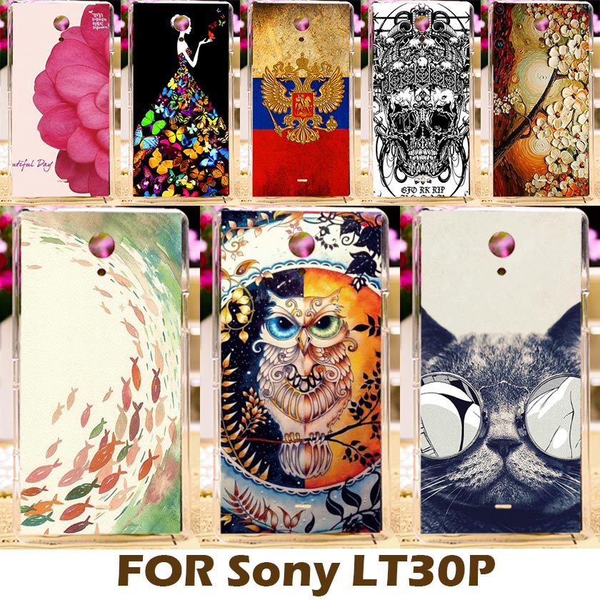 AKABEILA DIY Painting Design Hard Plastic Case For Sony Xperia T Lt30p 4.6 inch Lt30 LT30I Phone Cover Protective