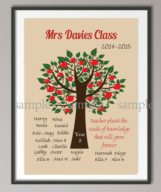 Us 8 05 38 Off Personalized Teachers Gift Canvas Painting Family Tree Wall Poster Print Pictures Home Decoration Personalized Gift For Teacher In