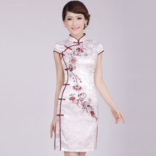 Womens Chinese Embroidered Cheongsams  Embroidery Robes Short Dress Retro Qipao