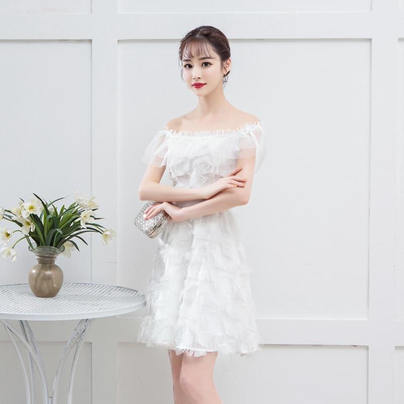 White Colour Bridemaid Dress Tassel Mini Dress For Women Wedding Party Dress Back Of Zipper