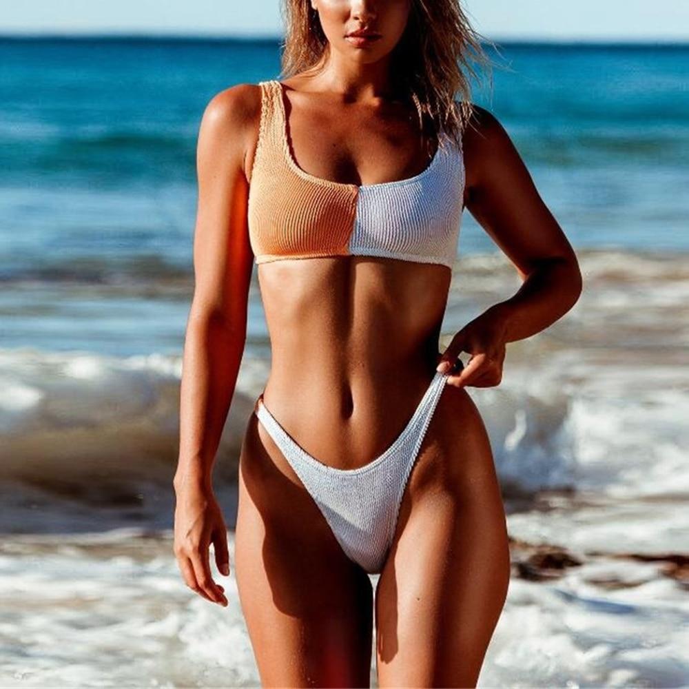 2018 Summer Bikini Solid Color Stitching Swimwear Women Color Matching Swimsuit Sling Biquini Sexy Bathing Traje De Ba O Mujer
