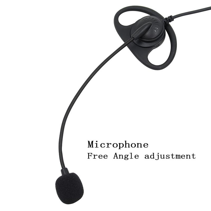 2 Pin D-Shape Tactical Headset PTT Mic Earhook Earpiece Earphone for Baofeng Kenwood Talkie Walkie Radio