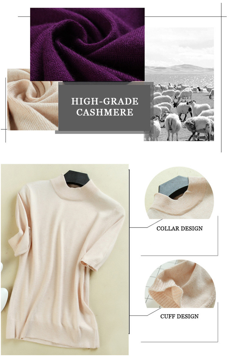 17 Women's Cashmere Turtleneck Short Sleeve Knitted Pullover Tee Base T Wool Cashmere Brand Sweater Women Jumper 8