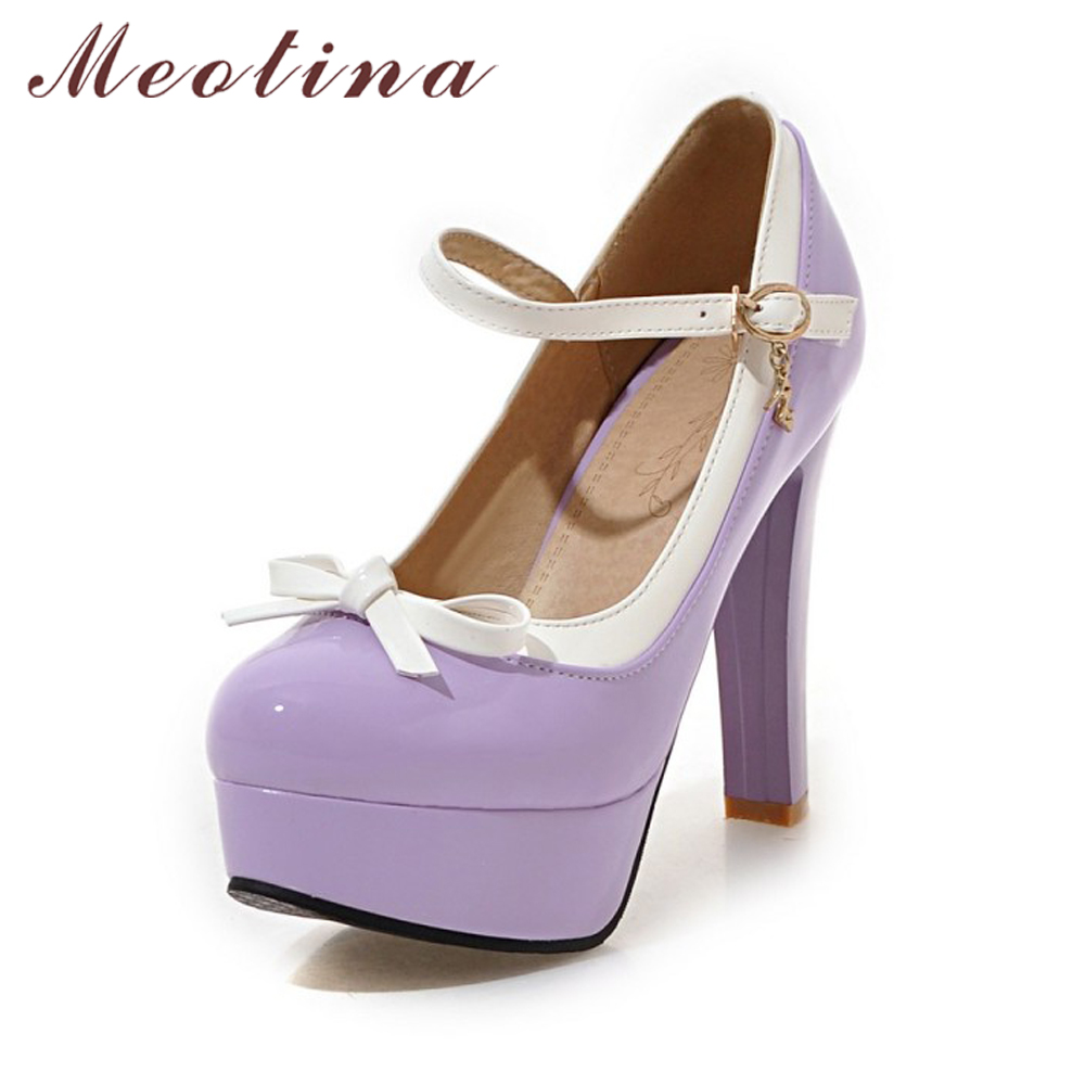 160855a309f241 Meotina Lolita Shoes Women Platform Shoes Bow Mary Janes High Heels Black  Pumps Buckle Strap 2018 Party Shoes Ladies Purple Pink