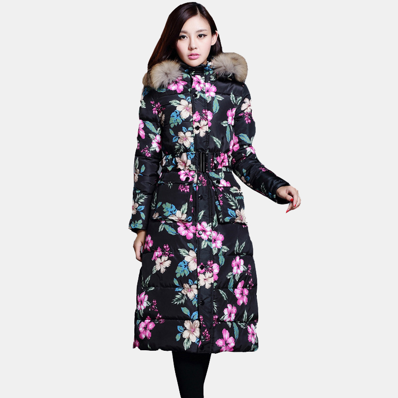 цены New Winter Coat Korean Women Long Paragraph Slim Knee Thick Fur Collar Coat Female Big Yards Down Padded Coat Jacket 2016  YH306