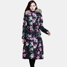 Novo Casaco de Inverno Coreano Mulheres Longo Parágrafo Magro Na Altura Do Joelho de Pele De Espessura gola Do Casaco Feminino Grandes Estaleiros Para Baixo Acolchoado Casaco Jaqueta 2016 YH306