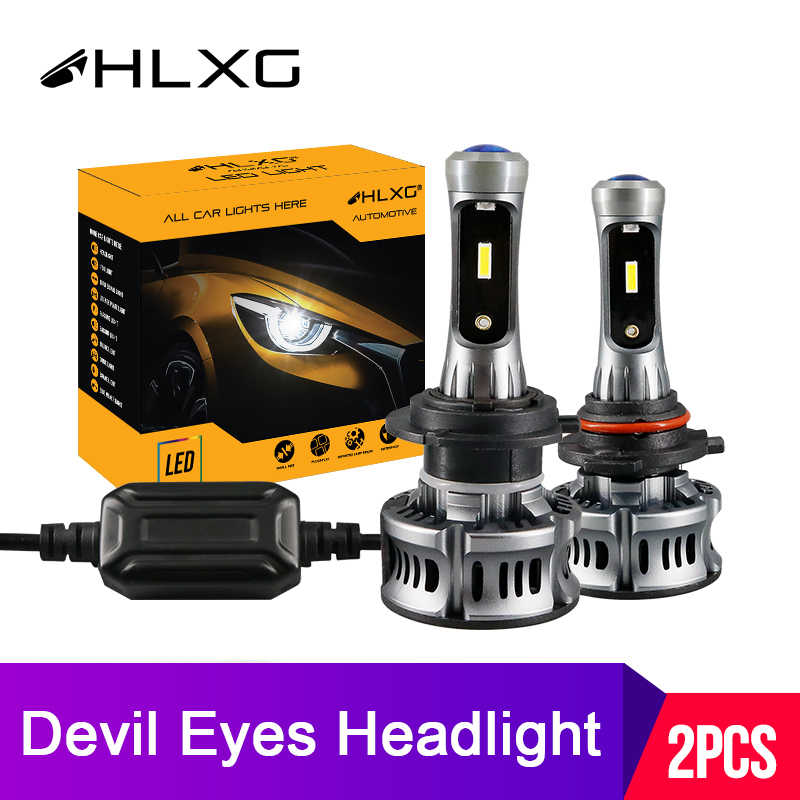 hlxg Devil Angel Eyes Lamp H7 LED H11 H8 Fog Lights 9005 HB3 9006 HB4 Mini Projector Lens LED Car Headlight Bulbs 12V 6500K 36W