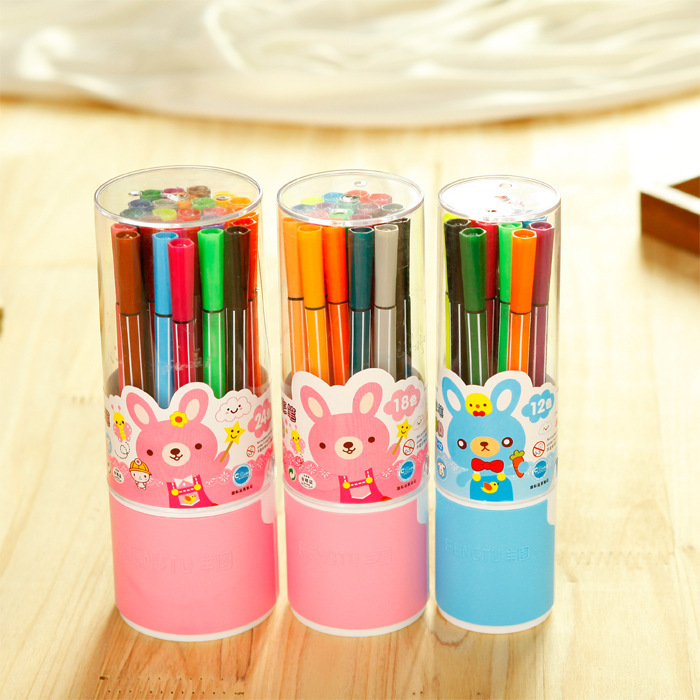 12/18/24 colors/ lot cute set Water color pen brush draw Marker Highlighter washable markers art for kids School Supplies gift12/18/24 colors/ lot cute set Water color pen brush draw Marker Highlighter washable markers art for kids School Supplies gift