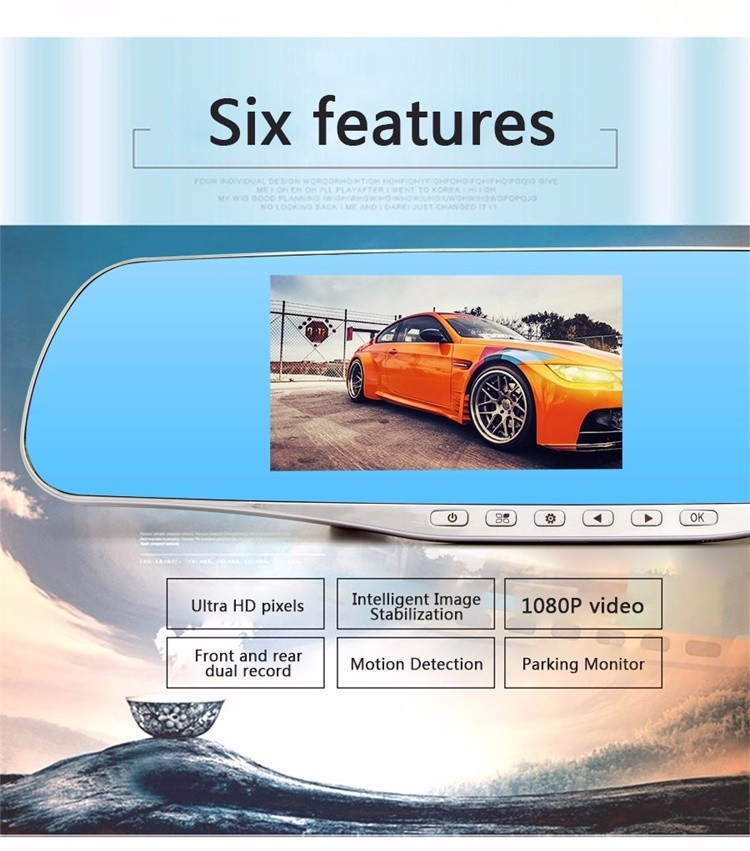FHD 1080P car camera 4.3-inch Mirror Rearview screen dual lens Car DVR Night Vision rearview mirror auto dvrs Stop Recording 3
