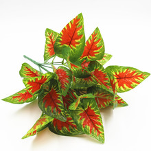 Plastic fake plant Red Taro leaf artificial plant for home garden decoration