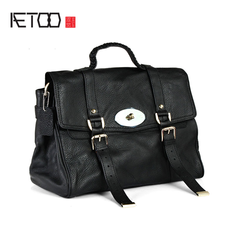 AETOO Europe and the United States retro classic big handbags leather handbag shoulder oblique cross-head layer of leather ladie