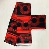 Red&Black Imitated silk fabric African wax pattern 4 yards +2 yards chiffon MOR 13