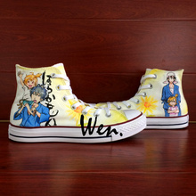 Wen Anime Shoes Design Custom Hand Painted Sneakers Barakamon Men Women's High Top Canvas Sneakers for Gifts