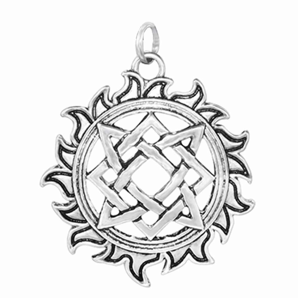 Daisies Simple Style Svarog Square Round Pendant Star Rus Amulet Ancient Slavic Talisman Statement Jewelry Pagan Men Necklace