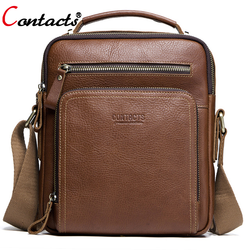 все цены на CONTACT'S Crossbody Bags For Men Shoulder Bag Male Men's Genuine Leather Bags Men Messenger Luxury Men Bags Designer