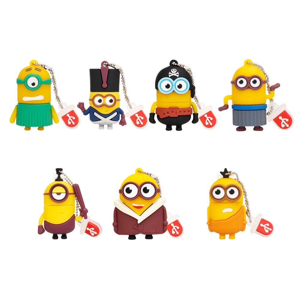 Popular Usb Stick Cartoon Various Styles Little Yellow Man Usb Flash Drive 128GB 64GB 32GB 16GB Pen Drive 8GB 4GB Pendrive Gift (1)