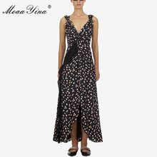 MoaaYina Fashion Designer Runway dress Spring Summer Women Dress Ruffles Elegant Sexy Party Floral-Print Dresses