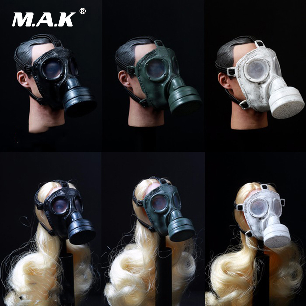 1/6 Male & Female Soldier Head Sculpt Action Figure Accessory Toy Gas Mask World War II German Pig Nose Shape Black/White/Green цены онлайн