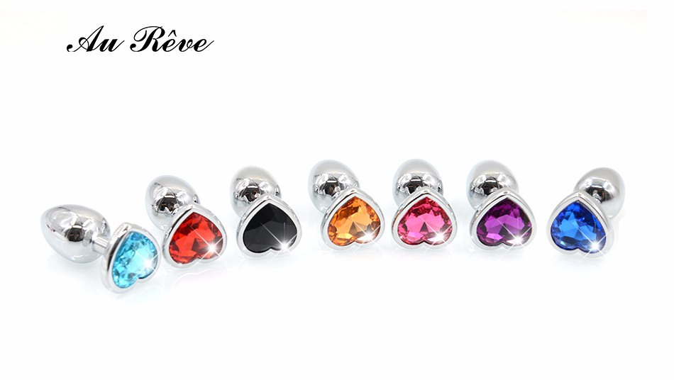AuReve Hot Sale Smooth Steel Anal Plug Pretty Crystal Heart Shaped Jewelry Metal Butt Plug Sex Toys For Men Women Free Shipping 2